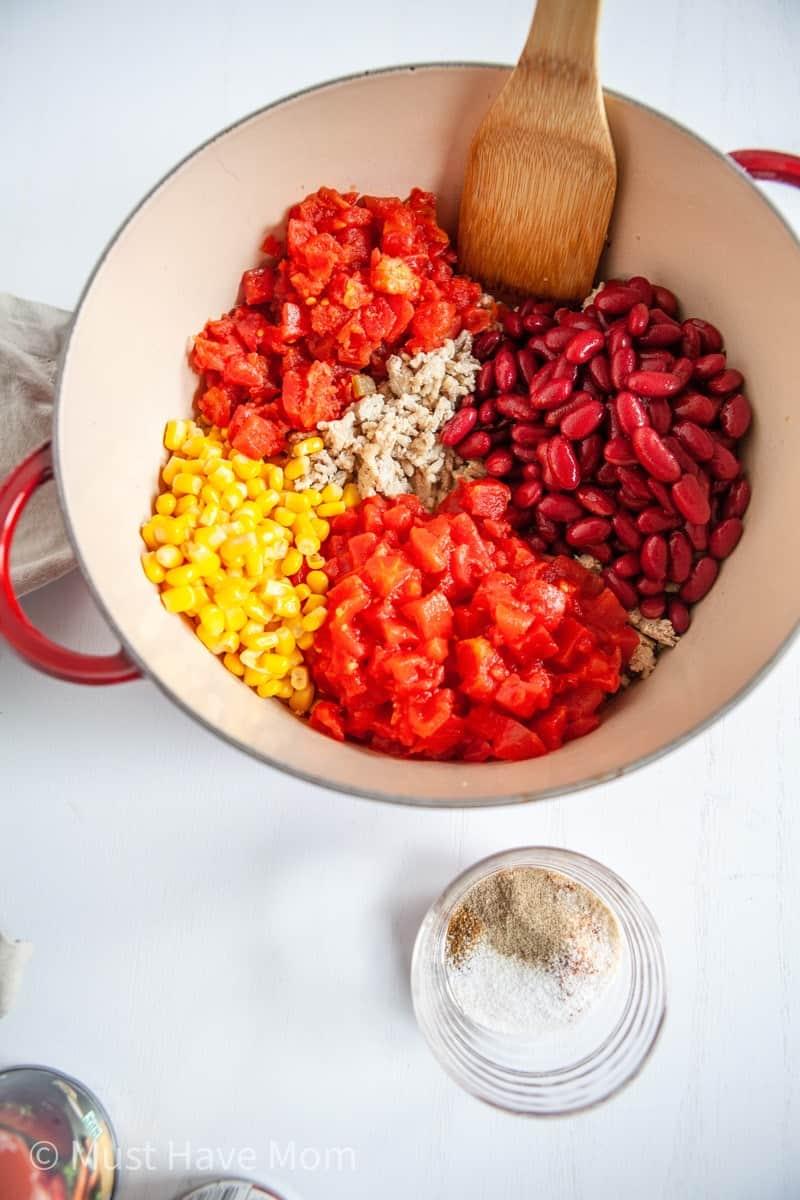 turkey chili ingredients in pot