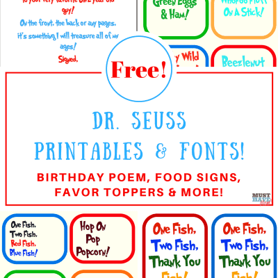 Free Dr Seuss Printables & Fonts!