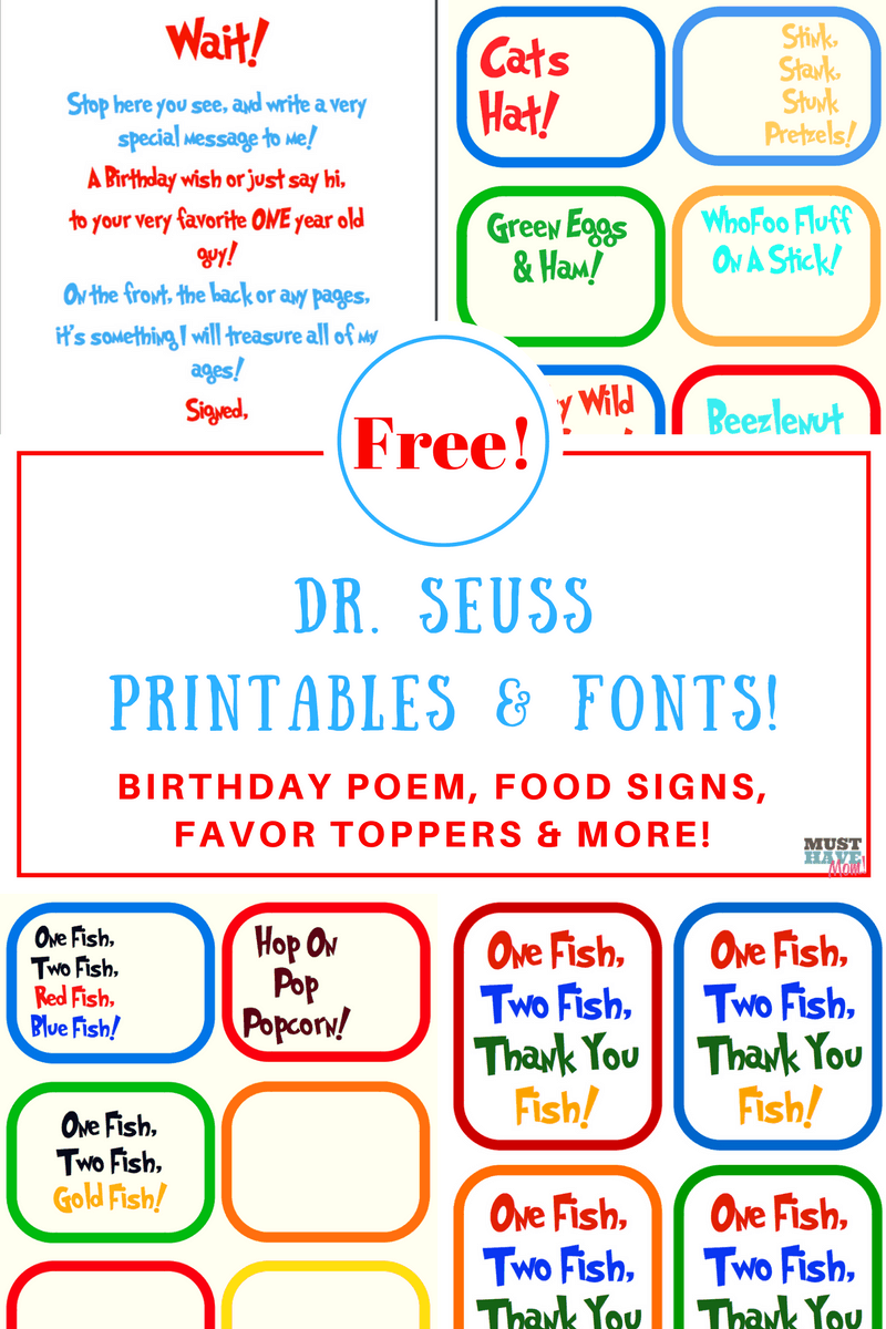 This is a photo of Genius Free Dr Seuss Birthday Printables