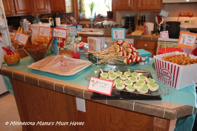 Dr Seuss food table for party