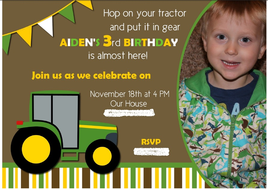 Aiden tractor party invite