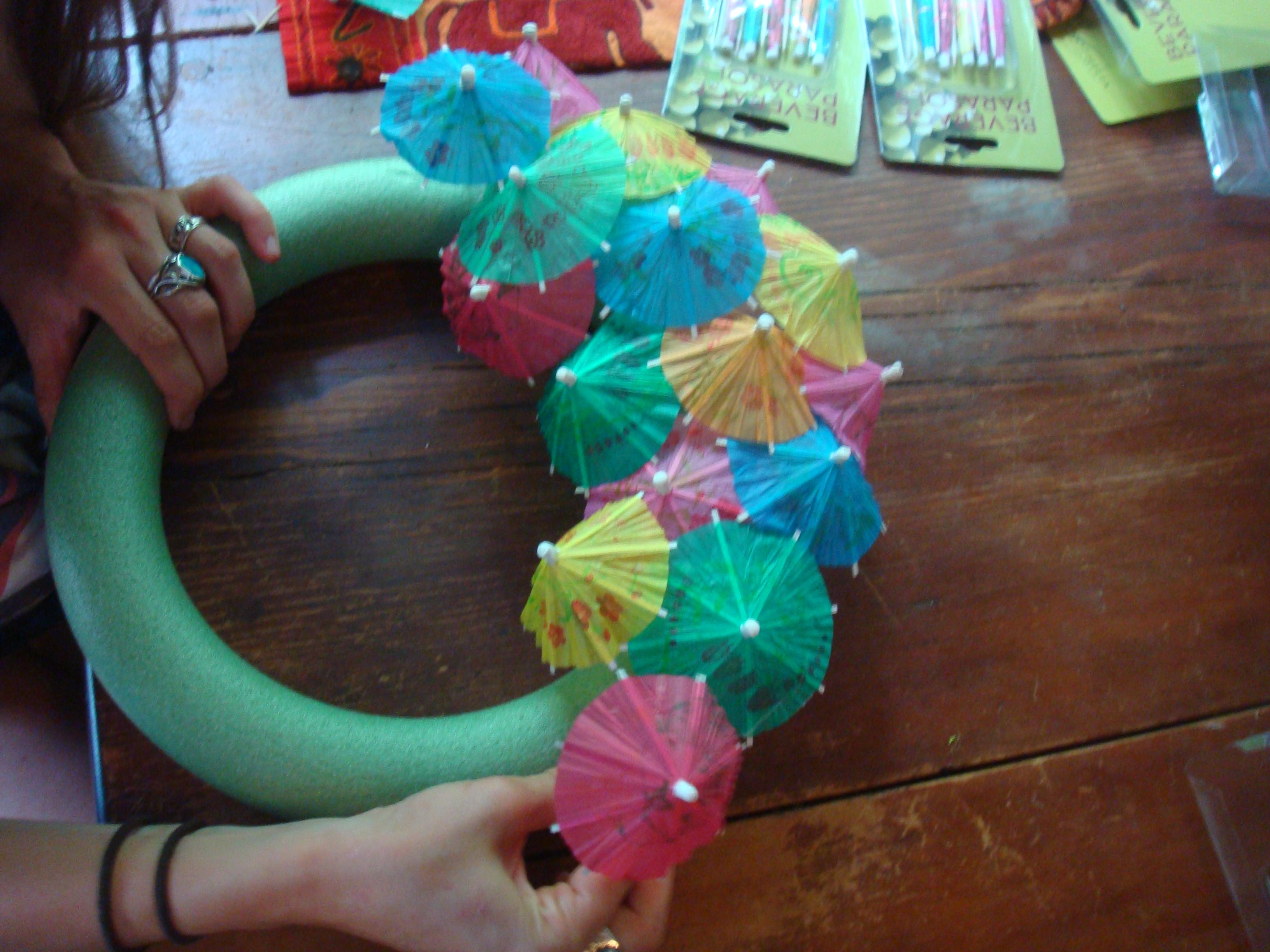 DIY Cocktail Umbrella Wreath