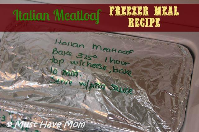 Italian Meatloaf Freezer Meal Recipe