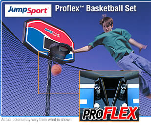 Add Big Fun To Your JumpSport Trampoline With The Basketball Hoop Set!