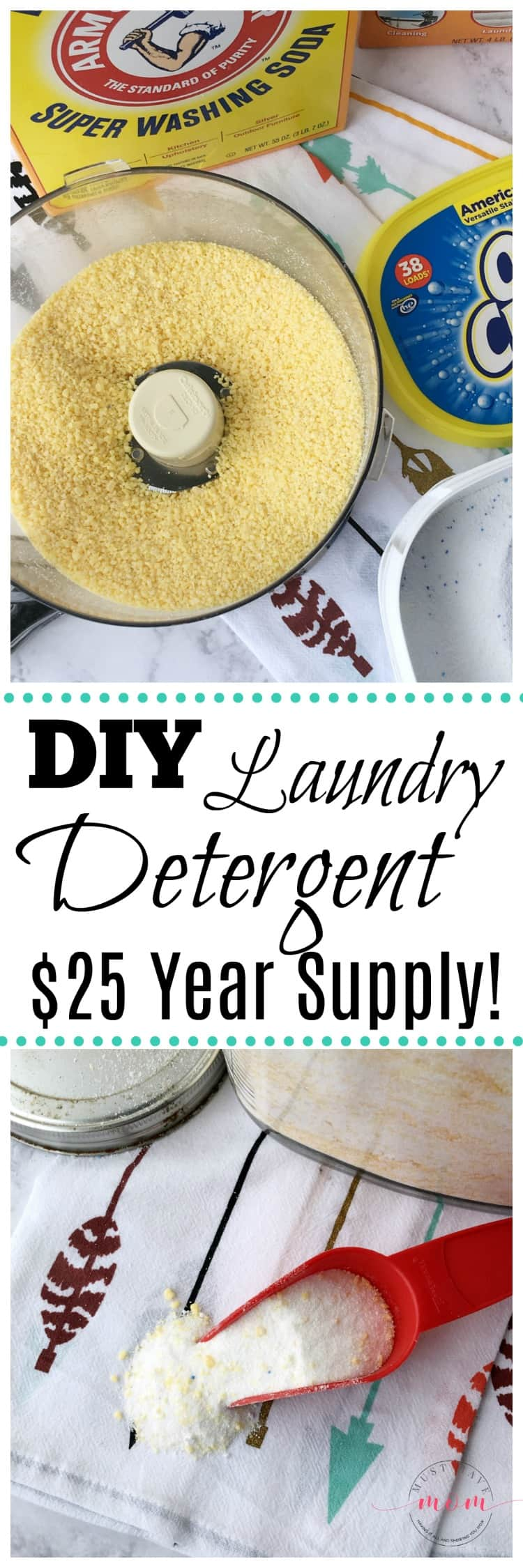 Make your own homemade laundry detergent recipe for just $25 for a year supply!