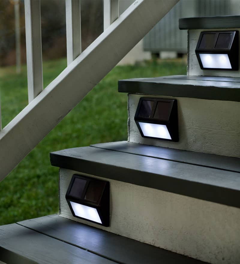 outdoor stair lighting. Plow  Hearth Solar Step Lights Light Up Your Outdoor Stairway With