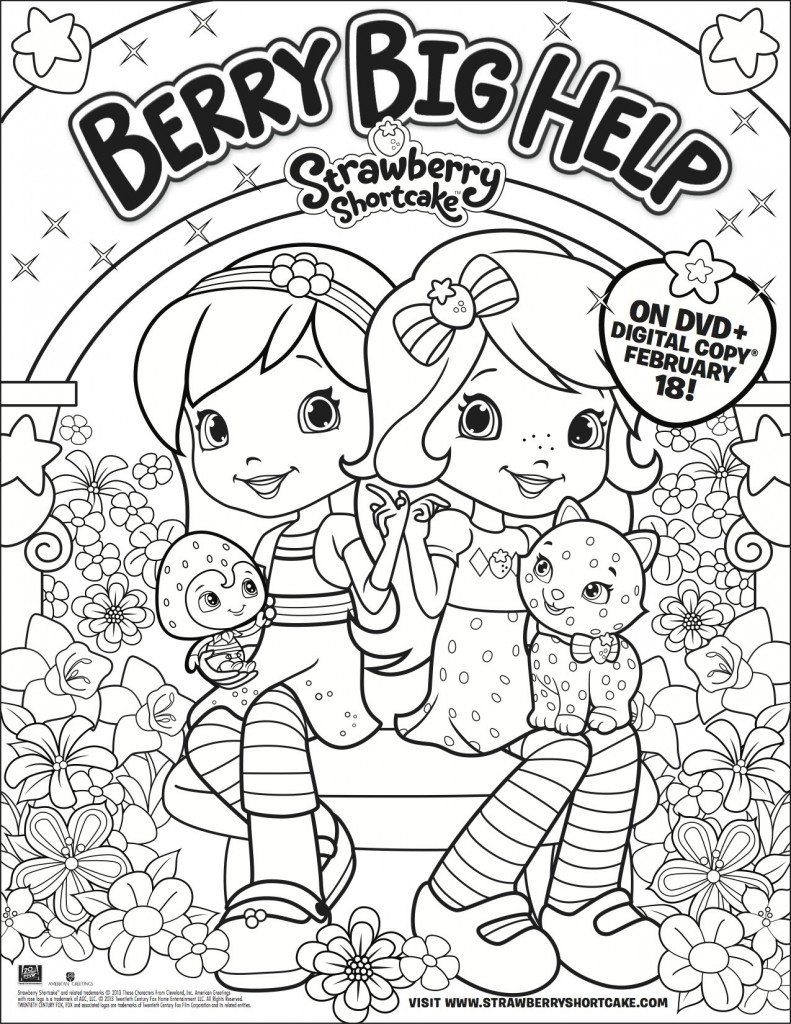 strawberry shortcake berry big help coloring sheet