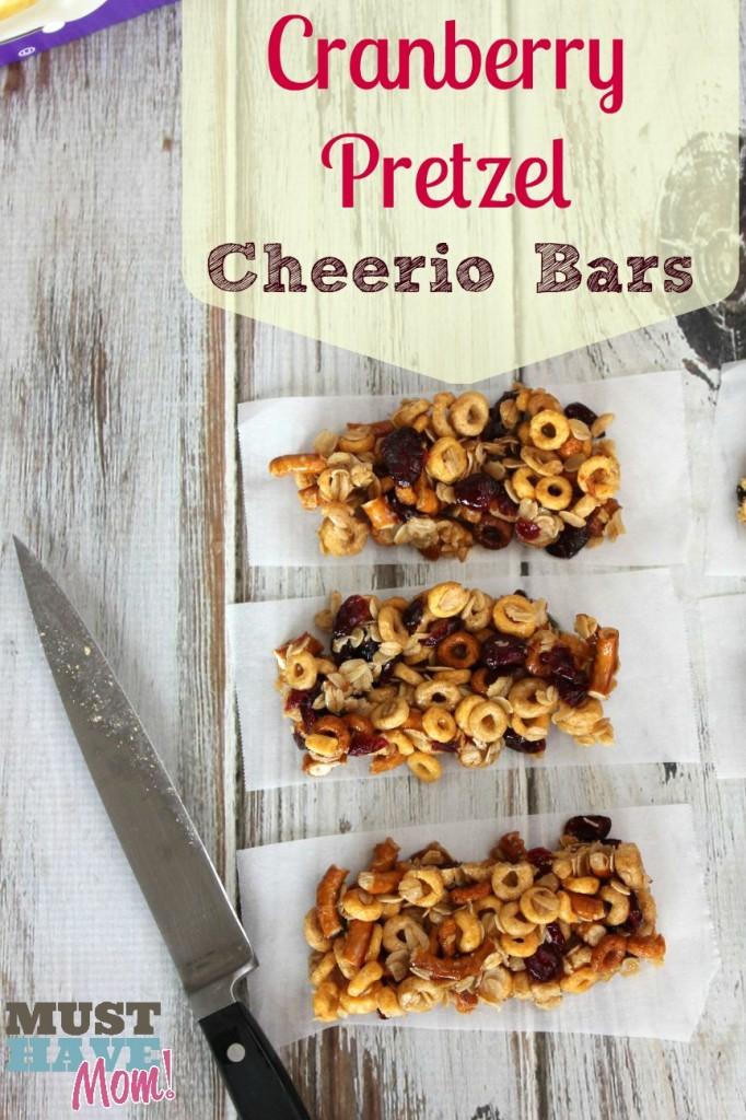 Cranberry Pretzel Cheerio Bars Recipe from Must Have Mom