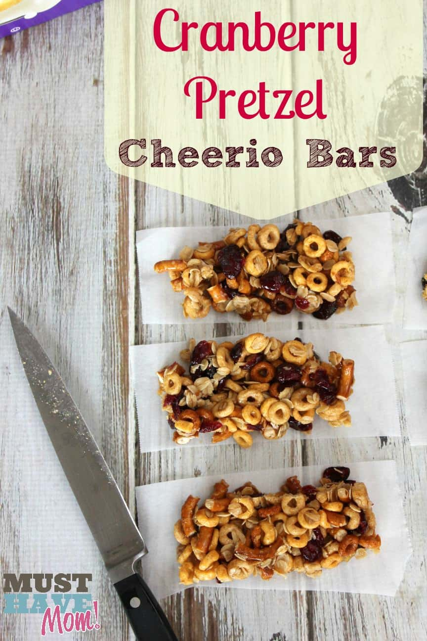 Cranberry Pretzel Cheerio Bars Recipe: Healthy Homemade Snacks!