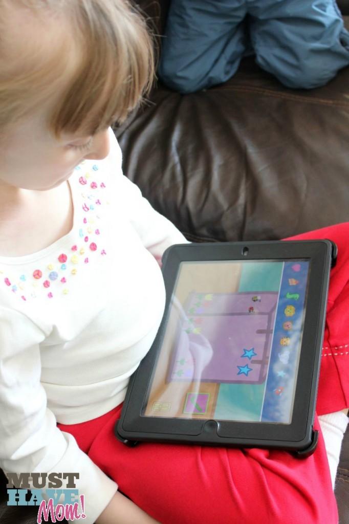 Danika Playing iPad Peppa Pig Party Time App