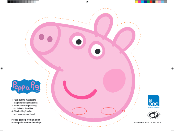 Beautiful Peppa Pig Party Mask Free Printable