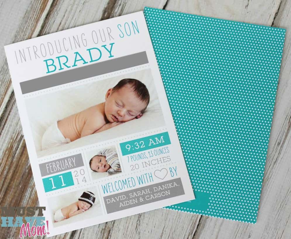 Announcing Our Newest Addition Brady Tiny Prints Review 50 – Tiny Prints Birth Announcement