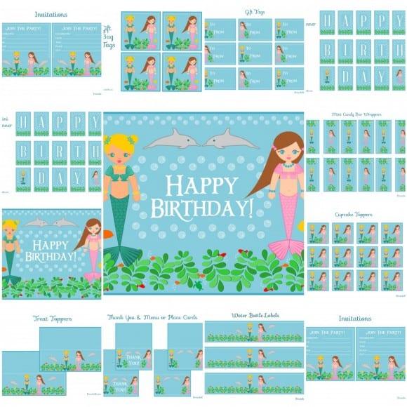 free mermaid party printables