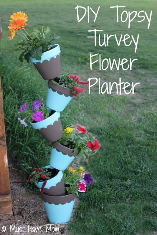 DIY Topsy Turvy Flower Planter with Step by Step Tutorial - Must Have Mom