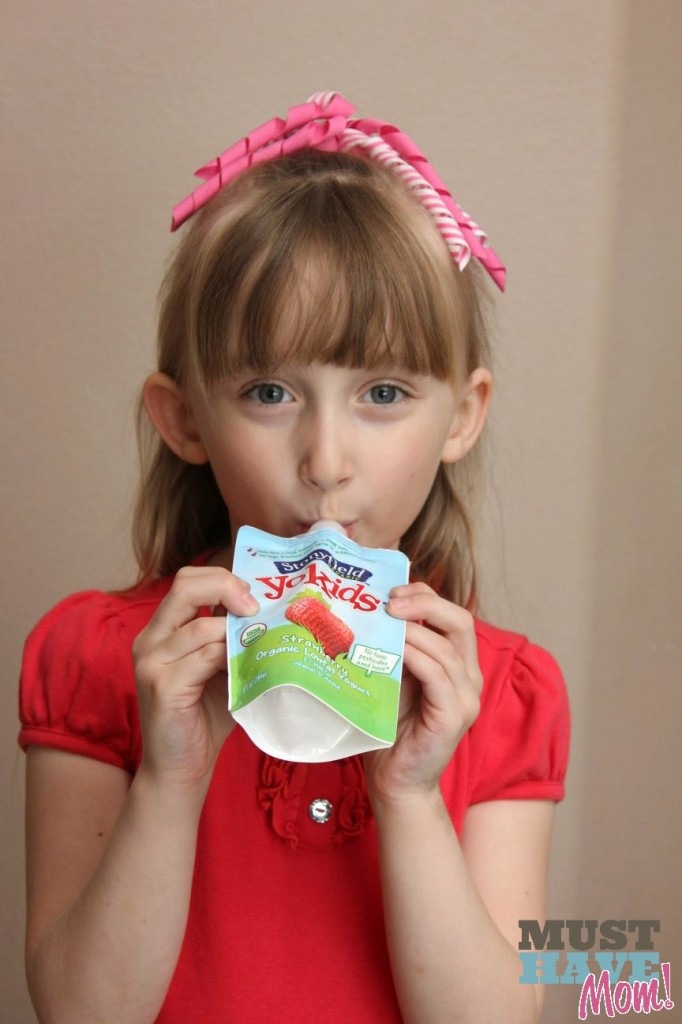 Danika drinking Stonyfield Yogurt - Must Have Mom