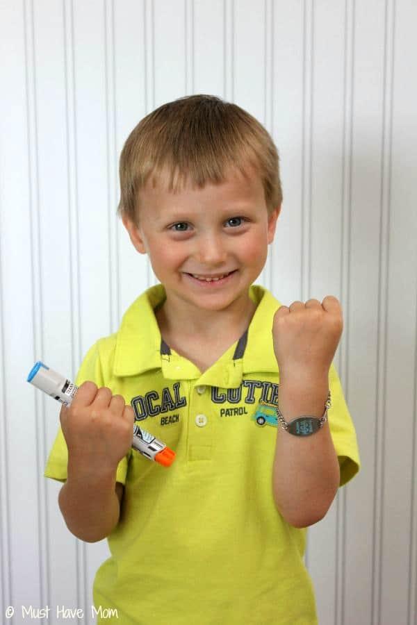 Aiden with Epi-Pen and Medical Alert Bracelet