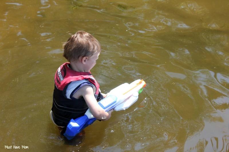 Aiden with Water Gun