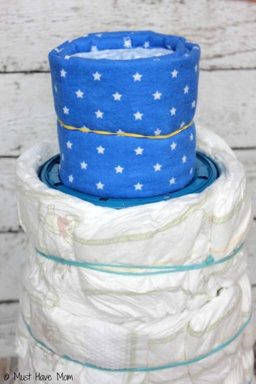 Diaper Genie Diaper Cake Step 4