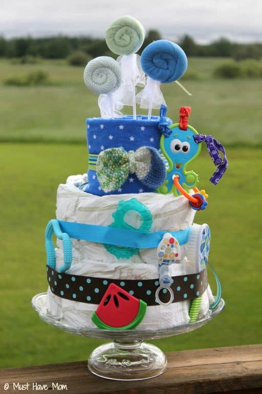 Diaper Genie Diaper Cake Tutorial - Must Have Mom