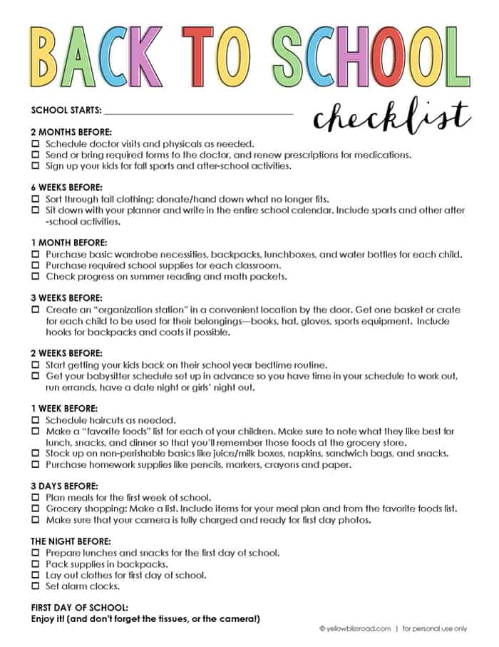 Back To School Checklist: Prepare Before The First Day