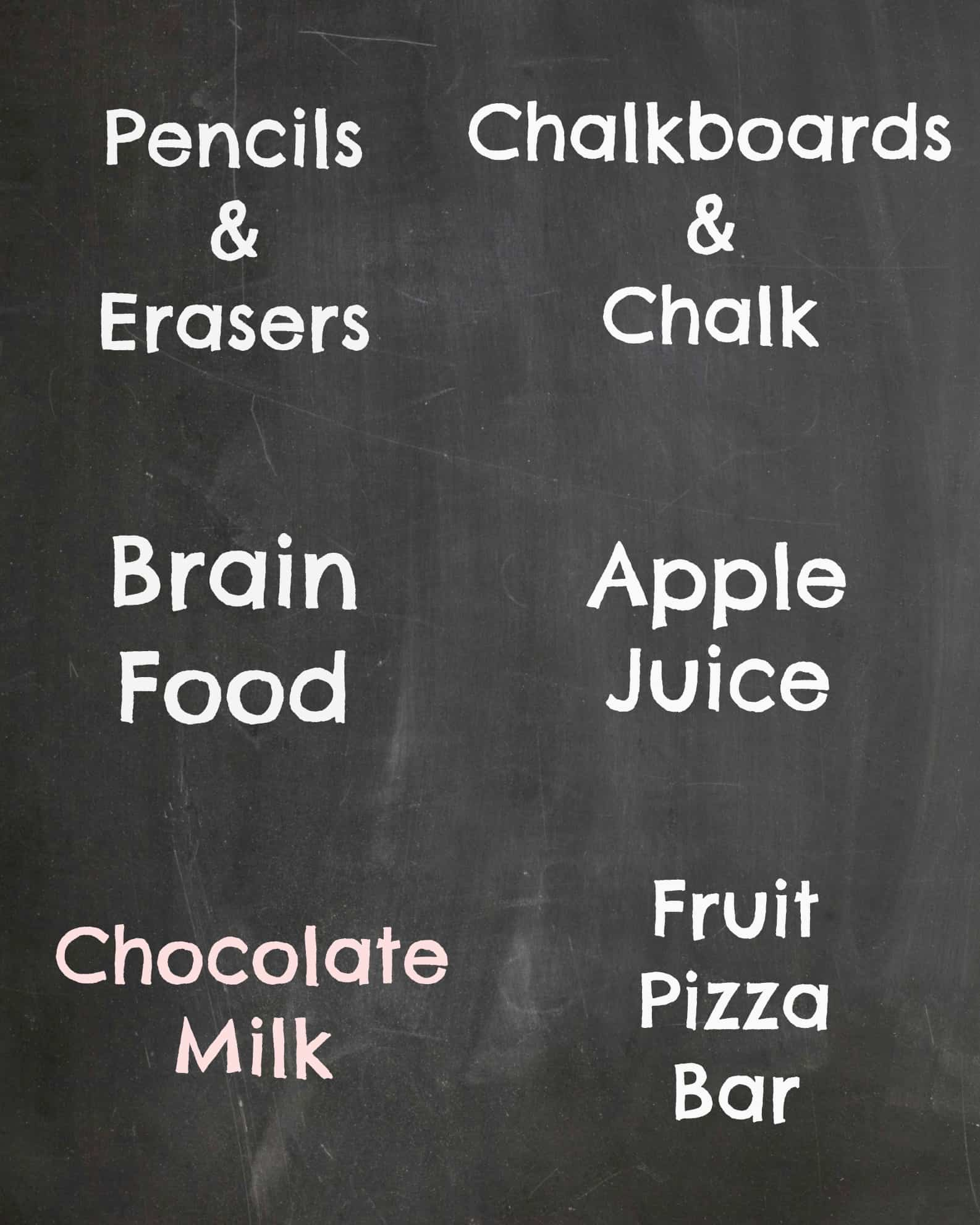 Free Printable Back to School Party Food Signs