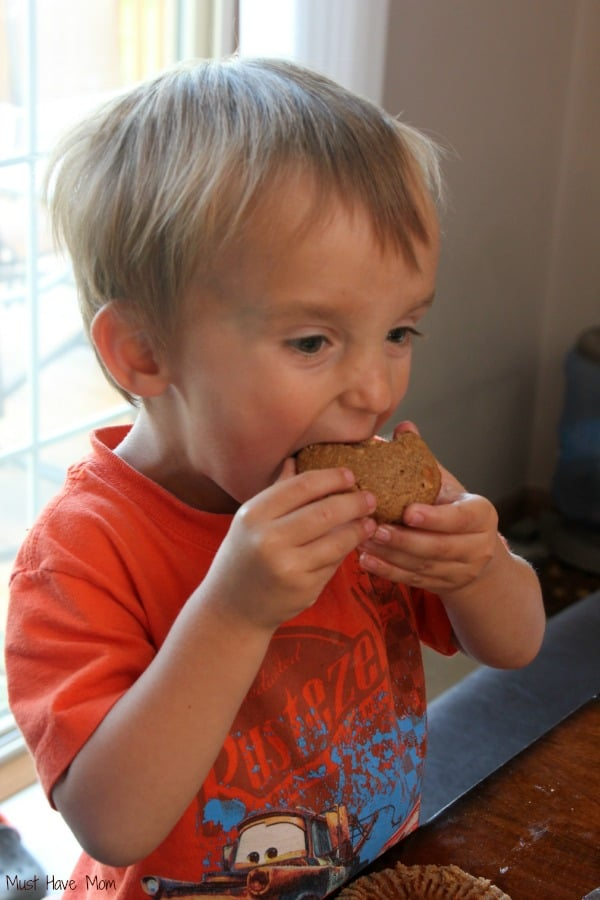 Carson eating picky eater muffins