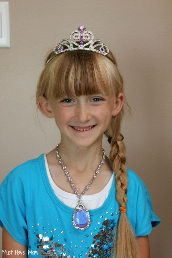 Danika wearing Sofia the First Crown and Amulet