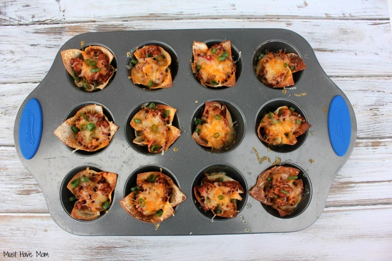 Sloppy Joe Wonton Cups with cheese and chives