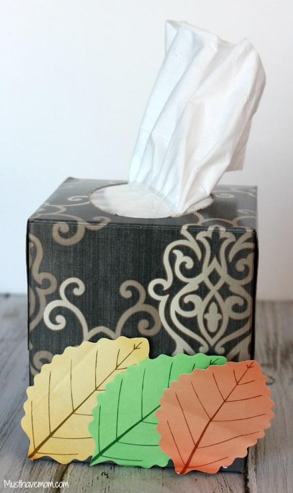 DIY Fall Leaves Kleenex Box -Musthavemom.com