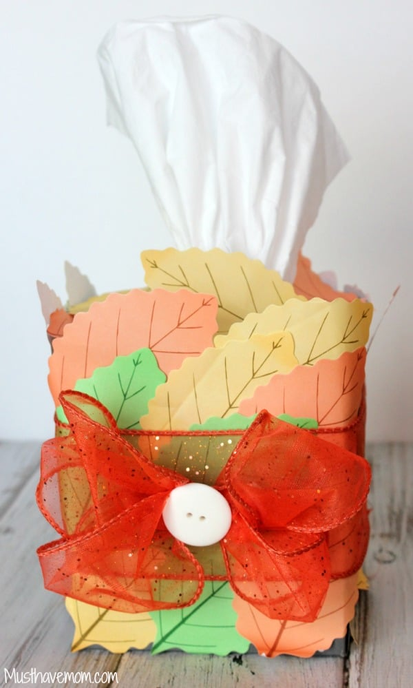DIY Fall Tissue Box in 5 Minutes -Musthavemom.com