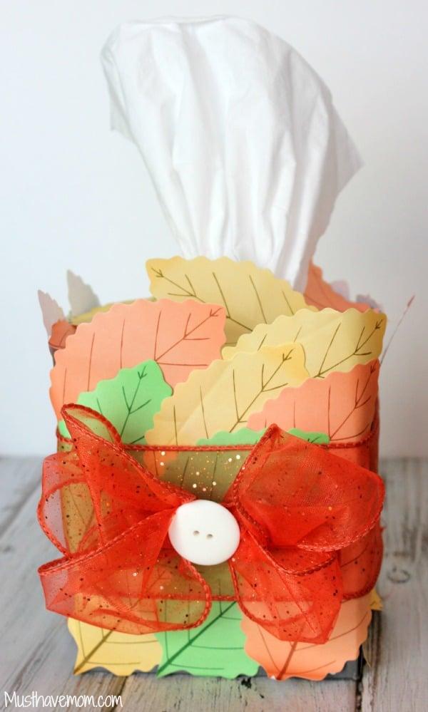 DIY Fall Tissue Box in 5 Minutes -Musthavemom.com