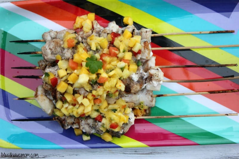 Jerk Chicken Kabobs with Pineapple Mango Salsa -Musthavemom.com