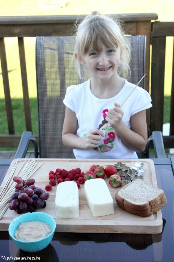 Kids Cooking Fruit and Cheese Skewers with Cinnamon Greek Yogurt Dip -Musthavemom.com