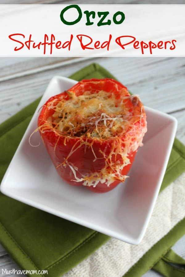 Orzo Stuffed Red Peppers -Musthavemom.com