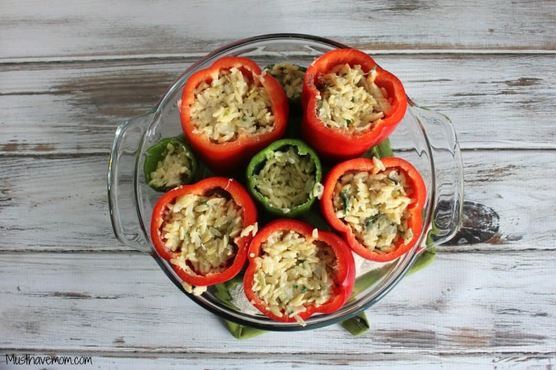 Vegetarian Orzo Stuffed Peppers -Musthavemom.com