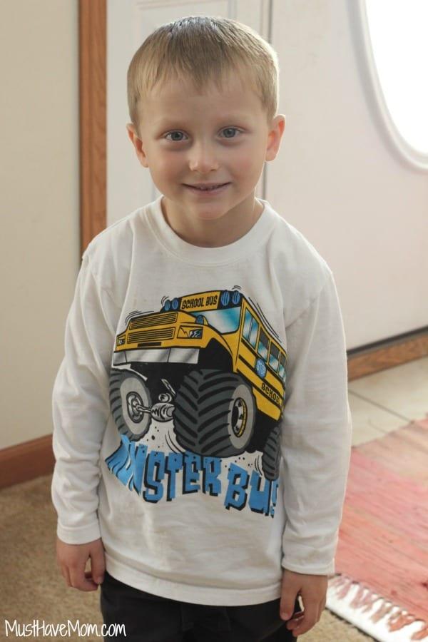 Aiden in Garanimals Monster Bus Shirt
