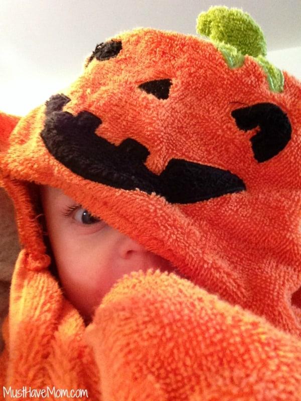 Brady in Fall Pumpkin Towel
