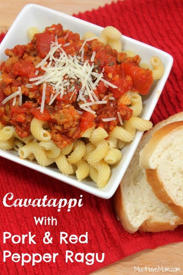 Cavatappi with Pork & Red Pepper Ragu Recipe - Musthavemom.com