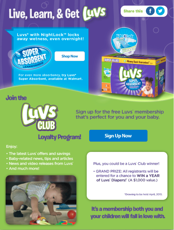 Win a year supply of Luvs Diapers