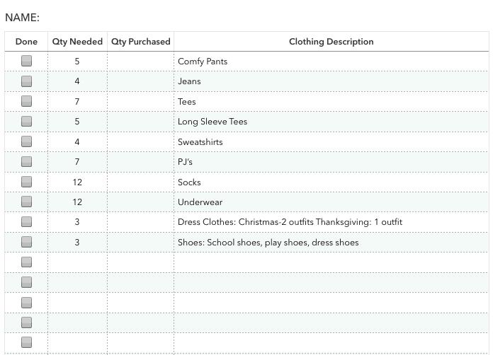 Printable Clothing Checklist