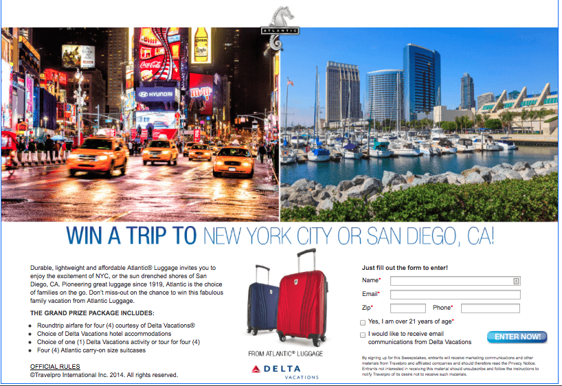 Atlantic Luggage Sweepstakes