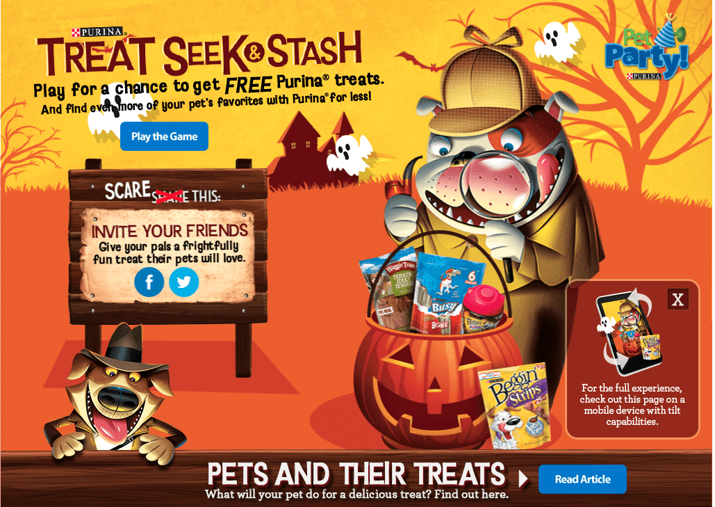 Play The Treat Seek & Stash Game For A Chance To Win A FREE Bag Of Purina Treats For Your Pet!