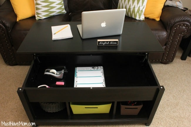 DIY Hidden Home Office using Lift Top Coffee Table