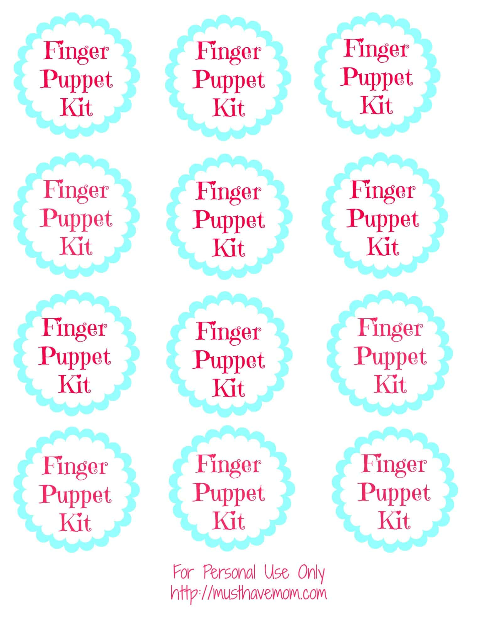 Finger Puppet Kit Free Printable Tags