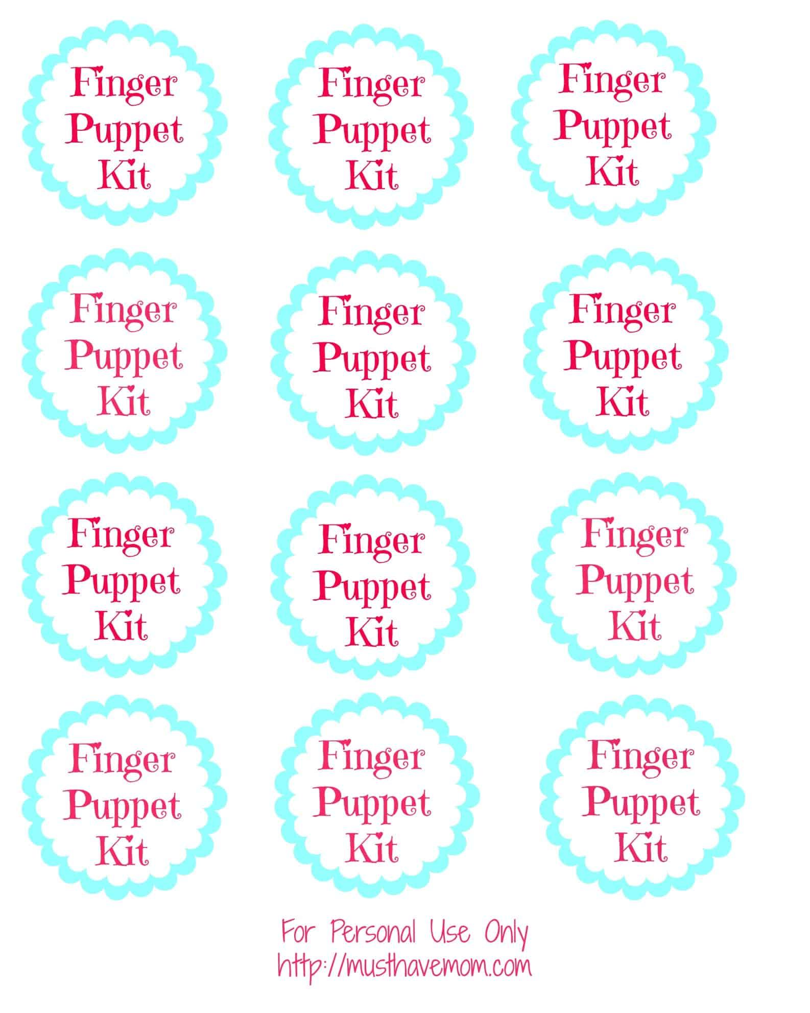 Finger Puppet Kit Free Printable Tags