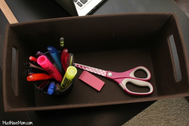 Store office accessories in a basket
