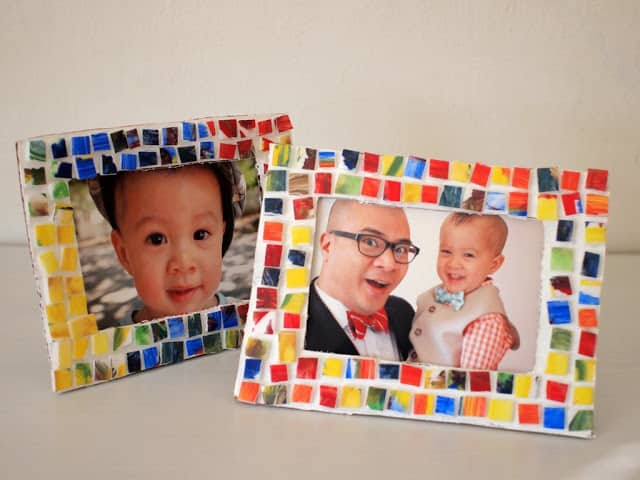 1 painted styrofoam mosaic tile picture frame
