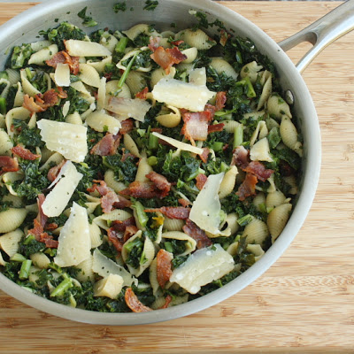 Shells with Kale, Bacon & Sun Dried Tomatoes