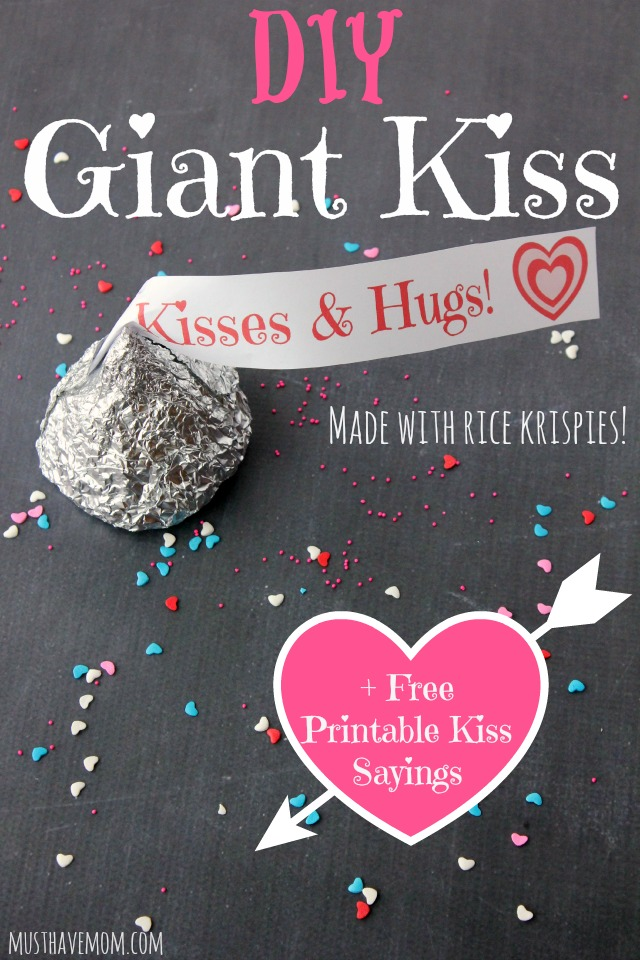 DIY Giant Hershey Kiss made with Rice Krispies + Free printable kiss tags