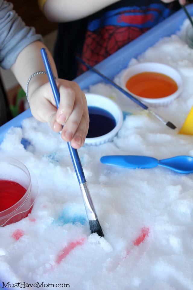 Indoor Snow Paint Sensory Table Rainbow Colors